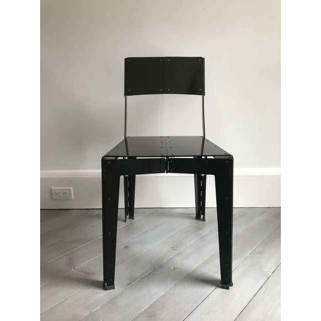 Black Folding Stitch Chair - 2 Available For Sale - Image 8 of 8