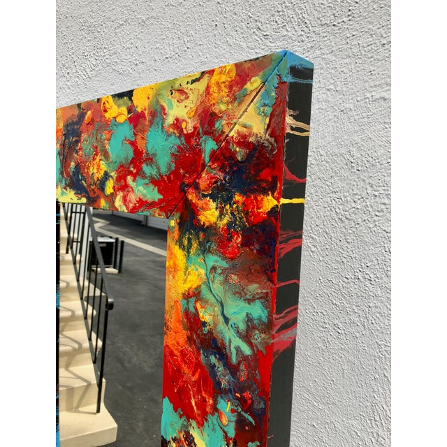 """Acrylic Abstract Freeform Painted Custom Full Length Mirror - 37""""X 75"""" For Sale - Image 7 of 11"""