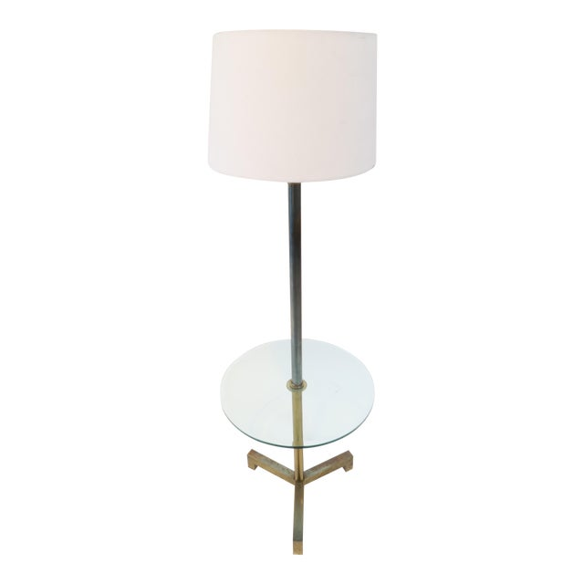 Brass Floor Lamp With Glass Table - Image 1 of 7