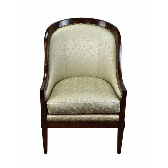 William Switzer classic Austrian Biedermeier occasional chair with exposed frame. Burled walnut frame with brass tacked...