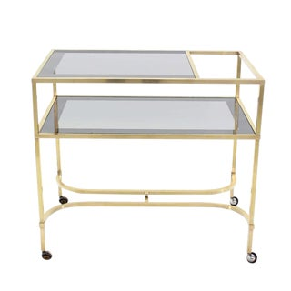 Nice Solid Brass Square Profile Serving Cart on Wheels For Sale