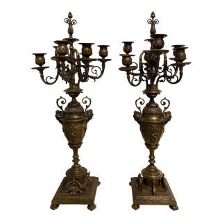 Pair of Brass Six-Arm Candelabras Bearing Figurative Faces and Fruits For Sale