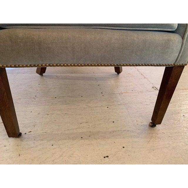 Vintage Tufted Sage Green Velvet Barrel Back Wing Chair For Sale - Image 4 of 12