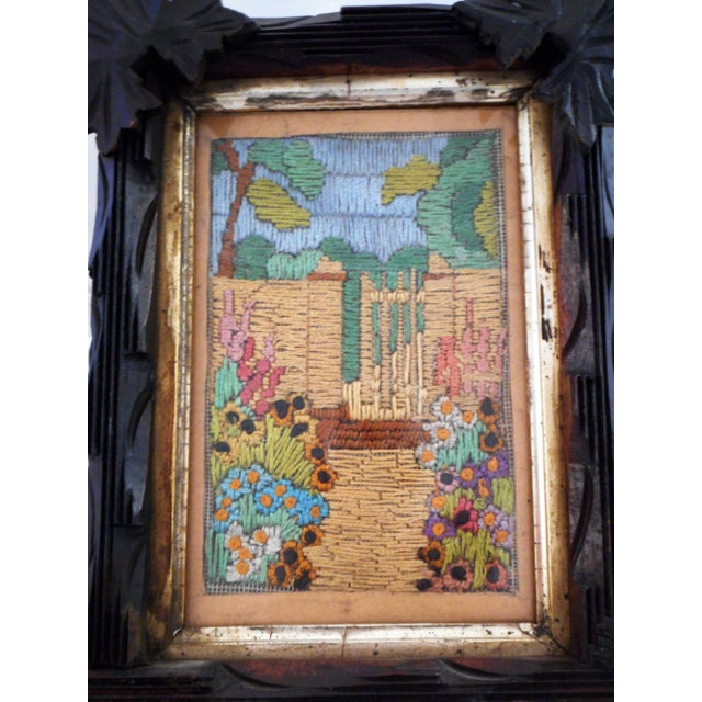 Blue Arts & Crafts - Victorian Silk Embroidery Picture in Black Forest Frame For Sale - Image 8 of 9