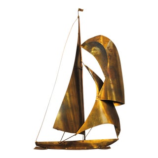 Mid-Century Jere Style Brass Sailboat Wall Hanging