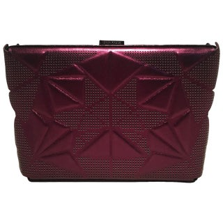 Tonya Hawkes Purple Metallic Embossed and Laser Cut Leather Clutch For Sale