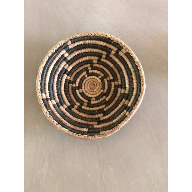 1950s Small African Charcoal Handwoven Basket For Sale - Image 5 of 5