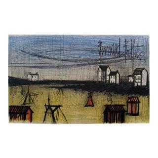 1966 Bernard Buffet 'A Small Beach (La Petite Plage)' Expressionism Green Lithograph For Sale
