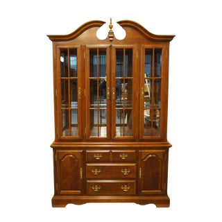 "20th Century Traditional Universal Furniture Cherry 54"" Buffet With Lighted Display China Cabinet For Sale"