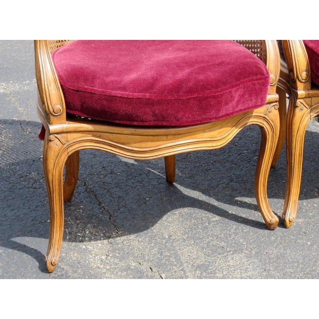 Louis XV Louis XV Style Caned Lounge Chairs - A Pair For Sale - Image 3 of 6