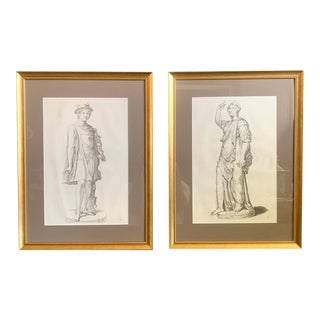 17th Century Old Master Engravings of Roman Statue- Galleria Giustiniana, a Pair For Sale