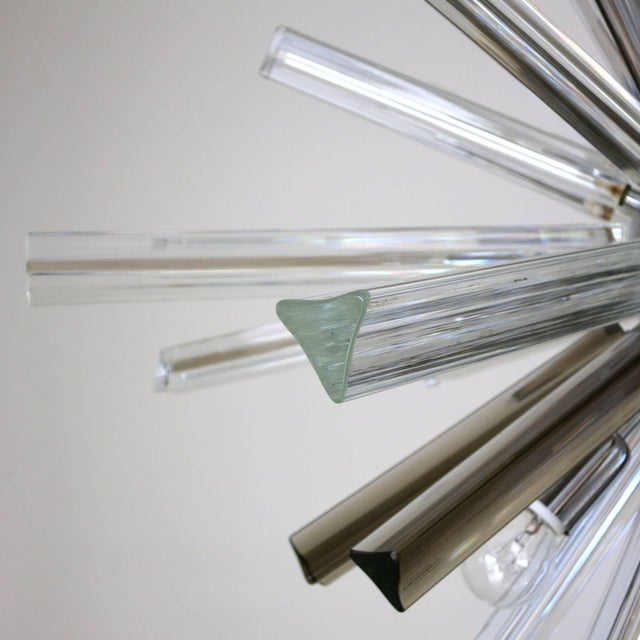 Chrome Italian Mid-Century Murano Glass Chandelier by Venini For Sale - Image 7 of 8