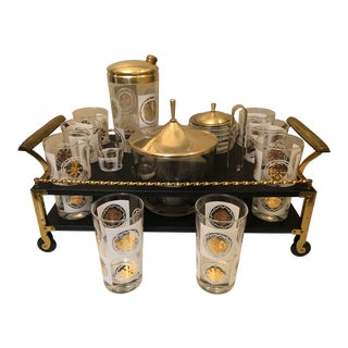 Mid-Century Table Top Wheeled Bar Caddy Set - 14 Pc. Set For Sale
