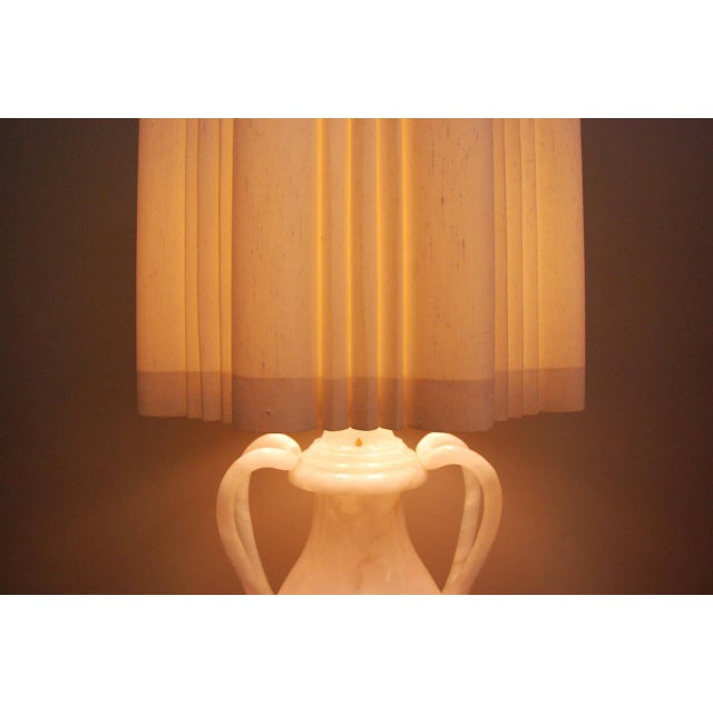 Stone Circa 1950 Hand-Carved Italian Hollywood Regency Alabaster Lamp For Sale - Image 7 of 11