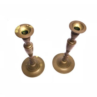Vintage Mid-Century Tall Solid Brass Candlesticks - a Pair Preview