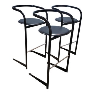 1970s Vintage Leather Seat Barstools- Set of 3 For Sale