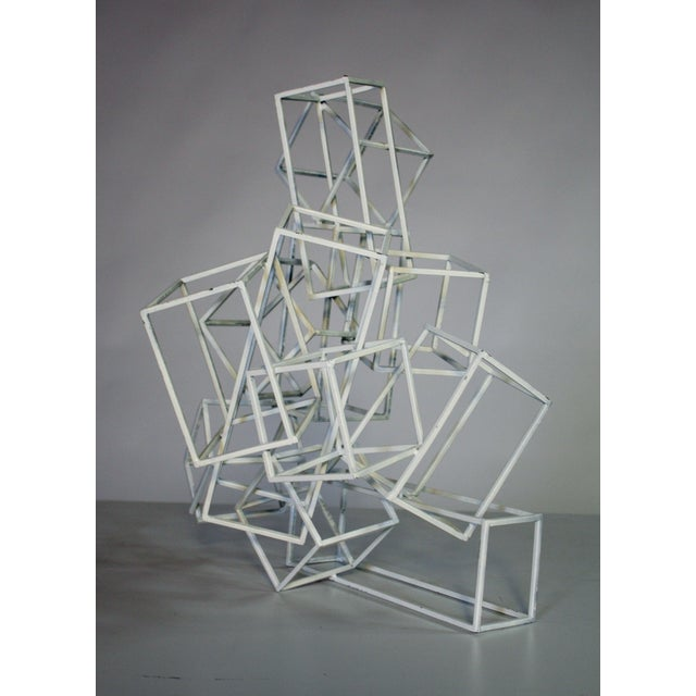 Geometric Metal Boxes Sculpture - Image 4 of 7