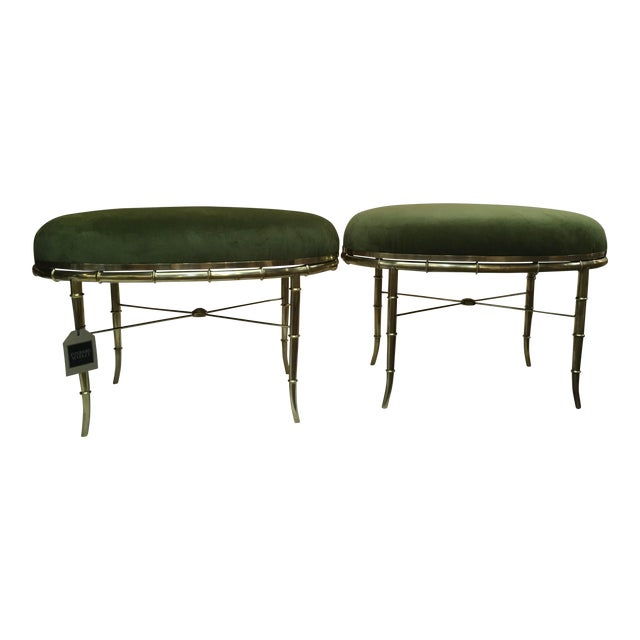 Mastercraft Brass Faux Bamboo Benches - a Pair For Sale