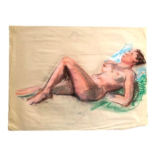 1980s Nude Female Figure Drawing, Pastel on Paper For Sale