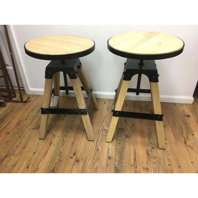 Noir Solid Wood & Black Steel Swivel Stool For Sale - Image 11 of 13