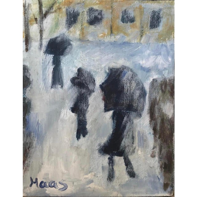 "Gray Impressionist ""Winter Landscape"" After Monet Original Oil Painting For Sale - Image 8 of 8"