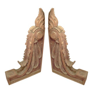 Monumental Pair of Carved Pine Corbels For Sale