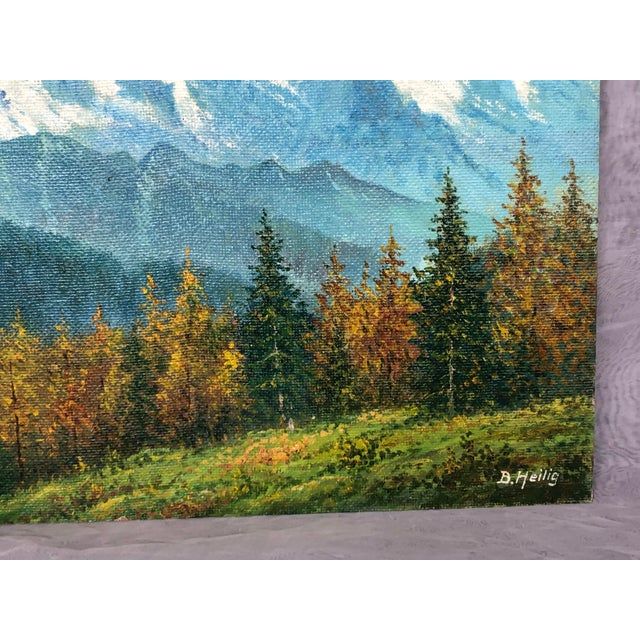 1960s Mid 20th Century Mountain Landscape Oil Painting For Sale - Image 5 of 13