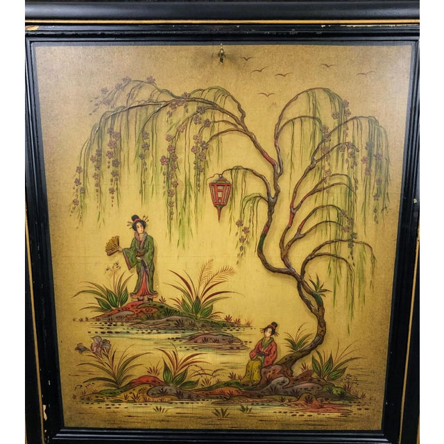 Black Antique Chinoiserie Writing Desk With Fold-Down Writing Surface For Sale - Image 8 of 12