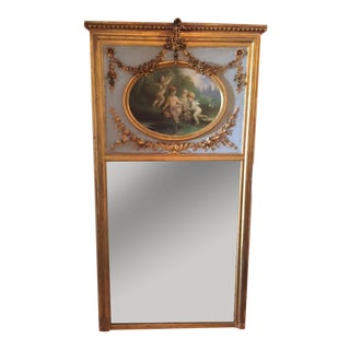 French 19th Century Full Length Floor Mirror with Painting