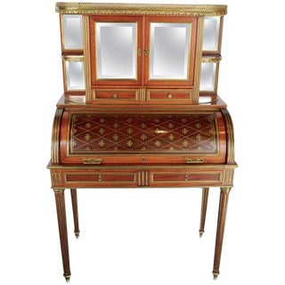 "Early 19th Century Antique French Mahogany Veneer and Brass Inlaid ""Bureau a Cylindre"" For Sale"