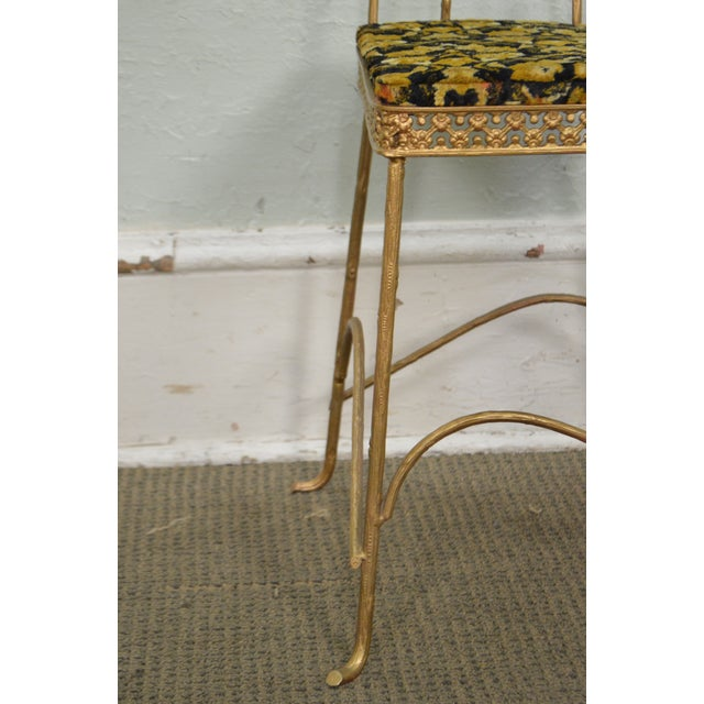 Antique Gilt Metal Faux Bois Aesthetic Side Chair For Sale - Image 10 of 11