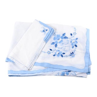 Traditional Tablecloth and 12 Matching Napkins - 13 Pieces For Sale