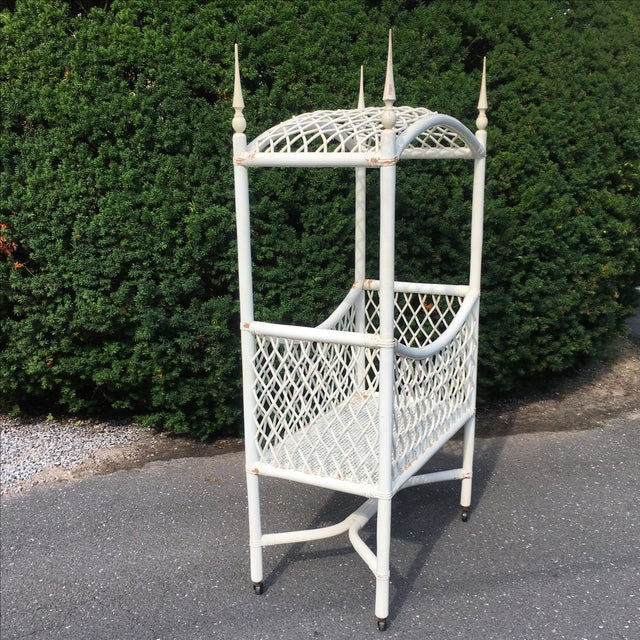 White Wicker Canopy Crib - Image 4 of 8