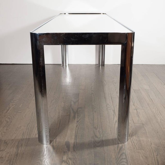 Mid-Century Modern Mid-Century Modernist Console Table in Seamless Polished Chrome & Mirror by Pace For Sale - Image 3 of 7