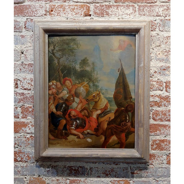"""16th/17th Century Old Master """"Wounded Warrior"""" Oil Painting For Sale - Image 11 of 11"""