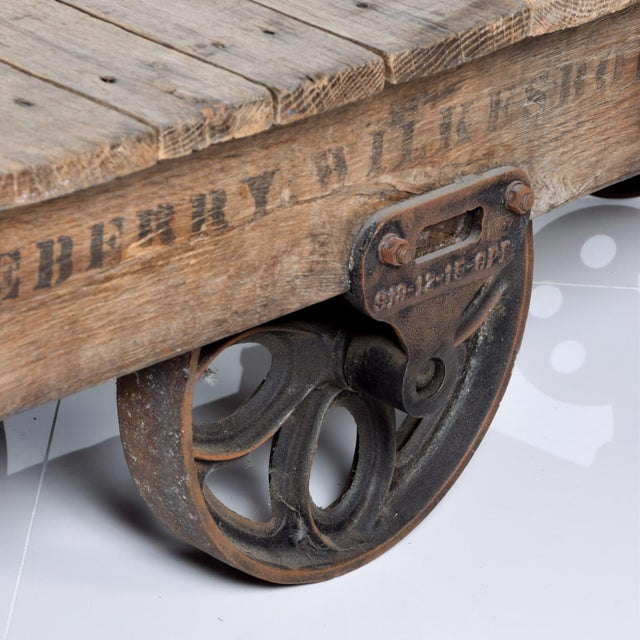 "Vintage Antique Industrial Cast Iron & Wood Coffee Table ""Lineberry Wilkesboro NC"" For Sale - Image 9 of 11"