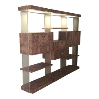 Burlwood and Lucite Wall Unit For Sale