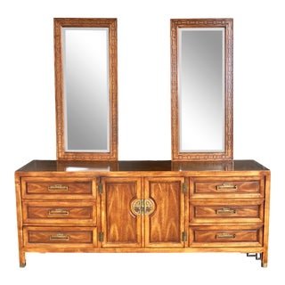 Vintage 1970's Century Furniture Nine Drawer Dresser With Two Mirrors-Set of 3 For Sale