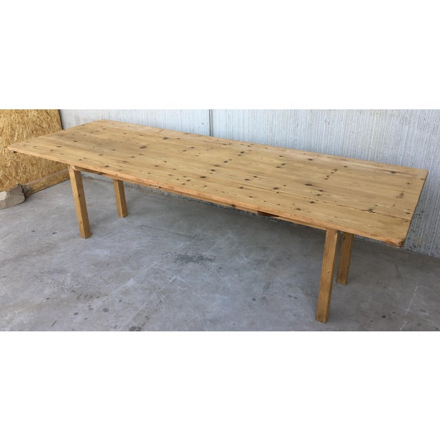 20th Century Midcentury Large Pine Drop-Leaf Country Farm Table With Two Leaves For Sale In Miami - Image 6 of 12