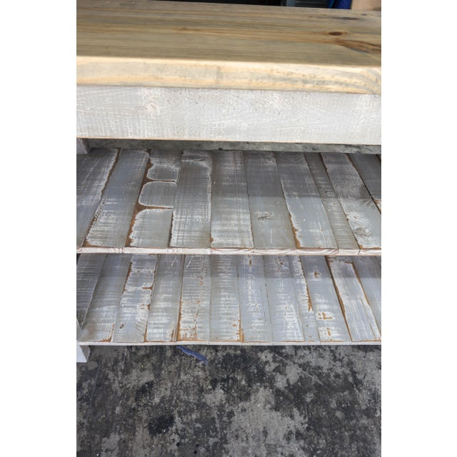Gray Reclaimed Wood Console Two Shelf Table With Light Distress - Image 7 of 8