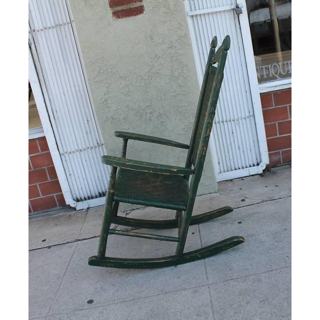 Early 20th Century Original Green Painted Rocking Chair - Image 4 of 7