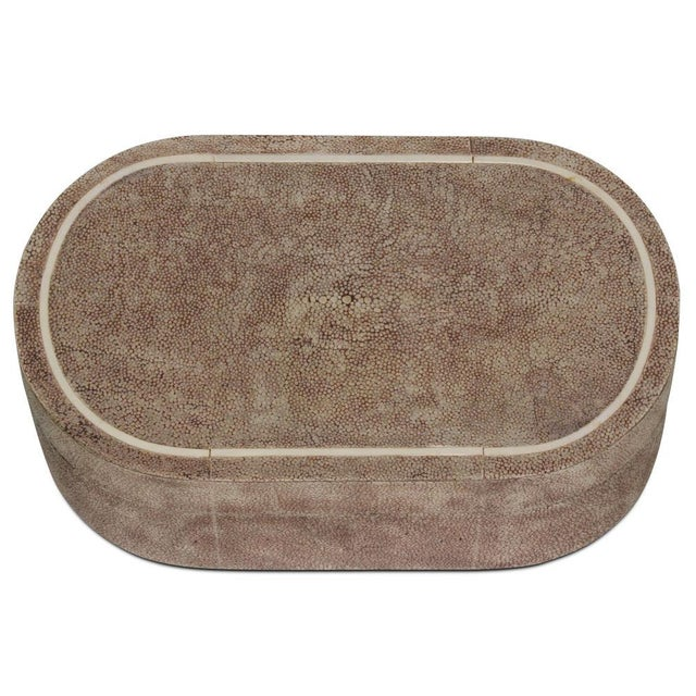 R & Y Augousti Shagreen & Ivory Racetrack Jewelry Box For Sale In New York - Image 6 of 6