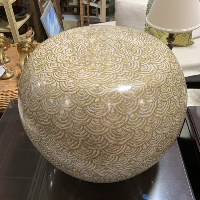 Robert Kuo Cloisonné Drum Low Stool For Sale - Image 9 of 9