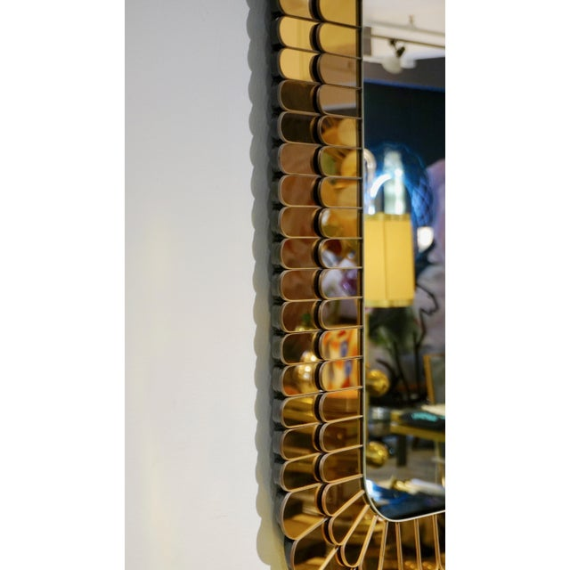 Contemporary Italian Scalloped Double Frame Silvered Bronze Murano Glass Mirror For Sale - Image 4 of 11