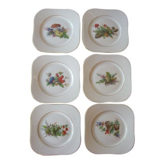1970s Gold Rim Fruit Motif Porcelain China Coasters - Set of 6 For Sale