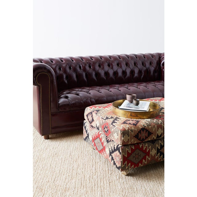 Mid-Century Modern English Cordovan Tufted Leather Chesterfield Sofa For Sale - Image 3 of 13