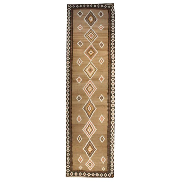 Early 20th Century Persian Kelardasht Diamond Kilim Runner - 4′6″ × 15 For Sale