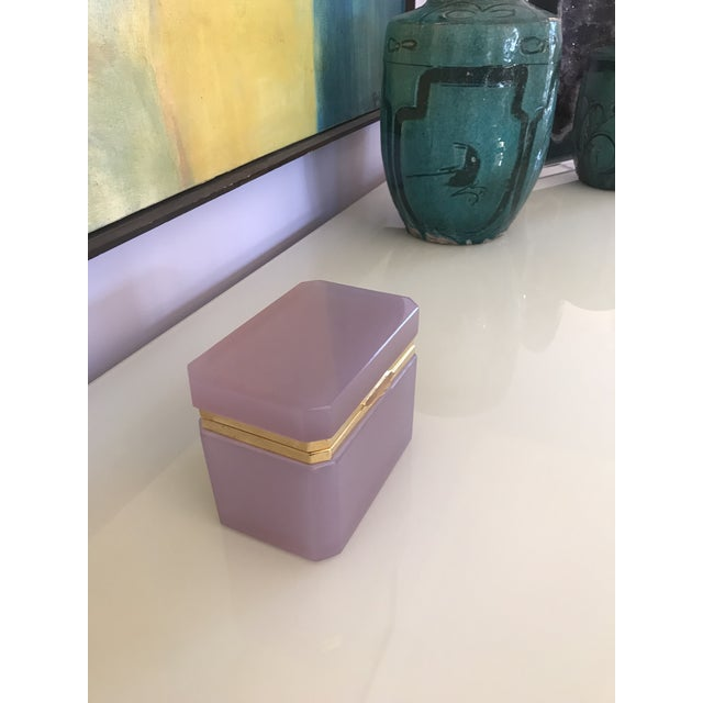 This is a beautiful Alexandrite opaline box with gold ormolu In different lights the color changes into beautiful hues of...