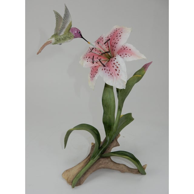 Boehm Hummingbird With Rubrum Lily Statue For Sale - Image 5 of 12