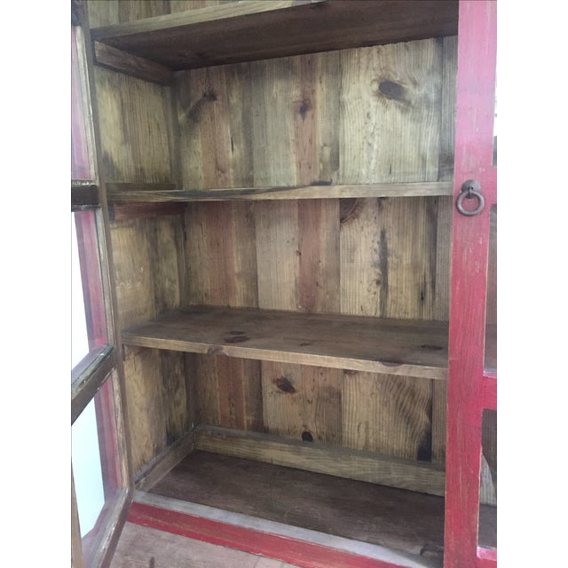 Country Red Farm Style 2 Piece Pine China Cabinet For Sale - Image 3 of 11